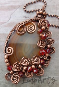 "ImpArts' shop - Copper wire wrapped agate slice ""Rose"" pendant and machine made pure copper ball chain, w Wire Jewelry Patterns, Wire Jewelry Designs, Agate Jewelry, Copper Jewelry, Wire Wrapped Necklace, Wire Wrapped Pendant, Copper Wire Crafts, Jewelry Gifts, Jewelry Necklaces"