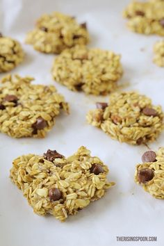 If you have a few ripe bananas on hand and five minutes to spare, you can make these healthy breakfast cookies right now! They're chewy and filling with a hint of sweetness from the banana and dark chocolate chips. Pair them with your favorite morning beverage for a quick breakfast on the go, or even as a snack or dessert that won't put you in a sugar coma.