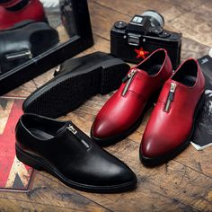US $25.99 <Click to buy> Zip Fashion Mens Dress Shoes Microfiber Upper Wedding Dress Flats Solid Red Black Color Sewing Schuhe Herren Dropshipping