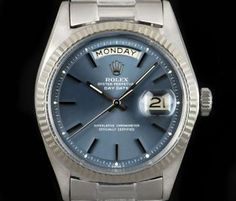 Rolex Day-Date Vintage Gents 18k White Gold Blue Dial 1803