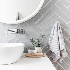 Grey herringbone tile bathroom wall - April 13 2019 at Laundry In Bathroom, Classic Bathroom, Trendy Bathroom, Bathroom Design Trends, Modern Bathroom, Classic Bathroom Design, Herringbone Tile, Herringbone Tile Bathroom, Bathroom Decor