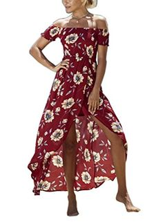 078a76b623ff Lily Rosie Girl Off Shoulder Red Boho Floral Print Dress Women Ruffles Summer  Beach Sexy Split Maxi Long Party Dresses Vestidos
