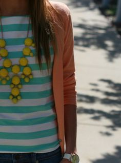Stripes, muted blazer, neon necklace. Love.