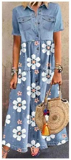 Denim Maxi Dress, Womens Denim Dress, Printed Denim, Mode Hijab, Casual Summer Dresses, Hot Dress, Denim Fashion, Chic Outfits, Fashion Dresses