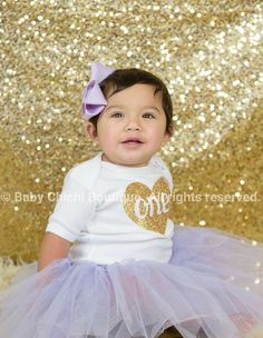 First birthday outfit girl Lavender and gold by BabyChichiBoutique