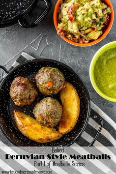 A perfect tapas/appetizer for a special party (New Year's Eve or Super Bowl?), these Baked Peruvian Style Meatballs pack a flavorful punch with cilantro, cumin, and aji amarillo (or other chile pepper)! Dipped in a Bite Size Appetizers, Yummy Appetizers, Appetizers For Party, Appetizer Recipes, Appetizer Ideas, Christmas Appetizers, Party Snacks, Dessert Recipes, Desserts
