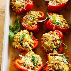 Protein: 25 grams per serving Each of these red pepper halves is full of nutrients with ingredients like summer squash, sweet corn, and high-in-fiber farro, a grain with a slightly nutty flavor. Serve each half as a side dish or serve two halves for a hearty main dish.