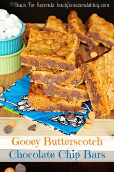 My family's FAVORITE bar recipe! Gooey Butterscotch Chocolate Chip Bars http://backforsecondsblog.com #cookiebars #dessert #butterscotch