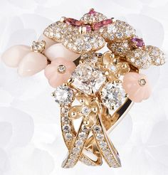 Ring in pink gold, pink & angel-skin opal, pink tourmalines, pink sapphire, diamonds, set with a cushion-cut diamond