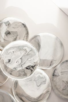 Marbled Porcelain Plates; The Pursuits of Happiness