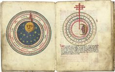 A medieval calendar with depictions of the positions of the sun and moon. This is actually a late medieval (1496) copy of a famous German manuscript.