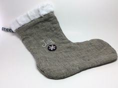JOY Linen Christmas Stocking with Embroidery and Button by RBQuery