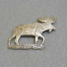 Very Detailed Sterling Silver Moose Brooch or Pin by PandPF