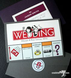 The cutest wedding invite ever! Monopoly Board Game Themed Wedding by oneLittleM