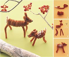 Kids can make this..... pipecleaner fawn and mama.
