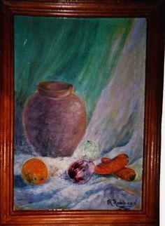 jarron con frutos     carton preparado en oleo   fue mi primer trabajo  en la academia