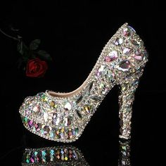Colorful gems Slipper   Rhinestone Heels   Bridal shoes   Wedding shoes   Waterproof Shoes on Etsy, $159.00