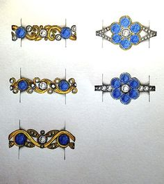 Rowena's gorgeous blue sapphire and diamond scroll work and cluster ring designs! #sapphires #diamonds #gold #jewellerydesign #bespoke