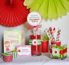Berry Sweet Strawberry Picnic Full Printable Party Collection- DIY