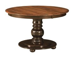 """Amish Round Pedestal Dining Table Black Traditional Kitchen Solid Wood 42"""" 48"""""""