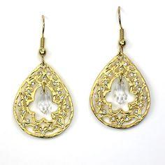 Gold Teardrop Earrings with Clear Hanging Stone by Be-Je Designs Teardrop Earrings, Stone, Detail, Gold, Jewelry, Design, Kisses, Rock, Jewlery