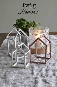 Twig Houses: Easy DIY with twigs, glue, and paint to make these decorative twig houses.