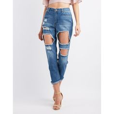 Charlotte Russe Destroyed High-Rise Boyfriend Jeans ($24) ❤ liked on Polyvore featuring jeans, medium wash denim, high waisted ripped jeans, destructed boyfriend jeans, white boyfriend jeans, distressed boyfriend jeans and high-waisted jeans
