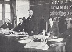Lenin,In the presidium of the First Congress of the Comintern in the Kremlin.