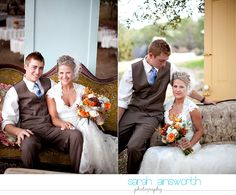 Fall wedding... Love the flowers, the brown suit & style of the dress