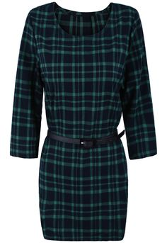 Green Long Sleeve Plaid Belt High Low Dress - Sheinside.com