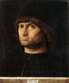 Portrait of a Man (Il Condottiere) 1475 Oil on canvas, 36 x 30 cm  ANTONELLO da Messina Italian painter, Southern Italian school (b. ca. 1430, Messina, d 1479, Messina) Musée du Louvre, Paris