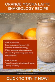 Slightly sweet & zesty, this smoothie is just what you need to get energized to take on the day. Cocoa powder makes this Cafe Latté Shakeology recipe taste like a frozen mocha drink from a coffee shop, and the fresh citrus flavor will make it the highlight of your morning. // shake recipe // smoothie recipe // healthy breakfast // easy breakfast idea