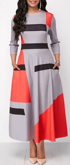 Pocket Three Quarter Sleeve Maxi Dress.