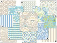 Custom Crib Baby Bedding Set - Taza in Blue and Gray. $238.00, via Etsy.