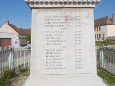 Monument aux morts à Pagny-le-Château, liste des victimes (Côte d'Or, Bourgogne, France)