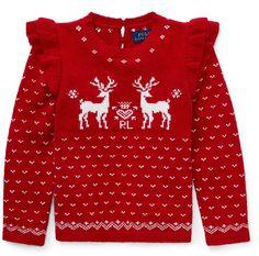 db4bb1850 Polo Ralph Lauren Little Girls Ruffled Reindeer Sweater - Park Avenue Red 5