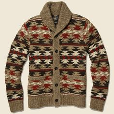 - Inspired by vintage blanket patterns - Hand-knit from a blend of linen, wool, cotton, and silk yarn - Finished with genuine horn buttons - Regular fit - Shawl collar with a two-button closure at the