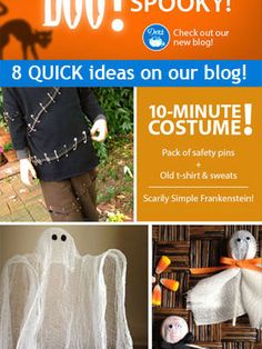 It's the last weekend for Halloween crafting! Check out these last-minute costume, decor and trick-or-treating ideas. They are super quick and super easy. Fall Halloween, Halloween Crafts, Holiday Crafts, Halloween Decorations, Happy Halloween, Halloween Stuff, Sewing Hacks, Sewing Tutorials, Sewing Projects