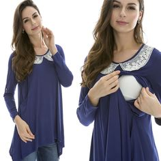 New Maternity Nursing Breastfeeding Clothes Fall Pregnancy Wearing Nursing Tops | eBay