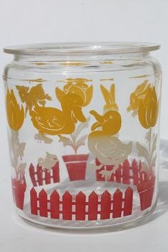 vintage baby animals print glass canister jar, farm barnyard lambs & ducks in red & yellow