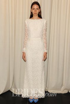 """Brides.com: Houghton - Fall 2014. """"Colombard"""" long sleeve Guipure lace wedding dress, Houghton"""