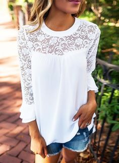 Solid Casual Cotton Round Neckline 3/4 Sleeves Blouses