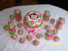 Pink and Green Monkey Cupcakes
