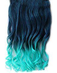 Mädchen Wellen Lockiges Haarstück Clip Bunte Steigung Ombre Haarteile Erweiterungen Dunkelblau-Hellblau