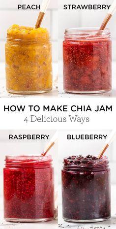 Chia Seed Jam Recipe, Chia Recipe, Good Healthy Recipes, Healthy Foods To Eat, Healthy Snacks, Vegan Recipes, Jam Recipes, Cooking Recipes, Cleanse Recipes