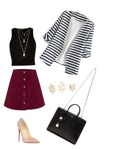 """""""Untitled #33"""" by nicolekon on Polyvore featuring WithChic, River Island, Christian Louboutin, Yves Saint Laurent, Charlotte Russe, Forever 21, women's clothing, women, female and woman"""