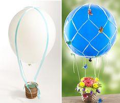 {DIY} Mini balão de ar quente com flores   Chá das Panelas