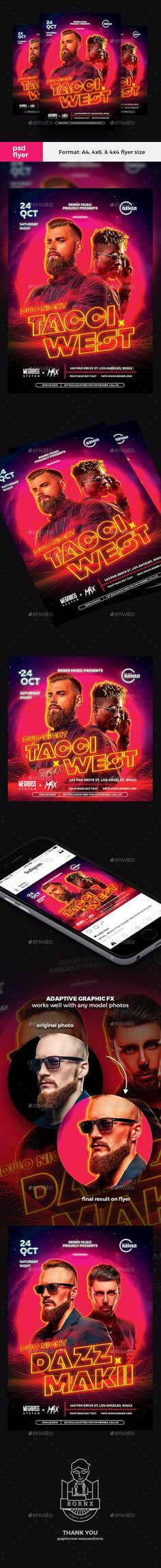 Duo DJ techno flyer template PSD for Photoshop perfect to promote your DJ concert, DJ battle, or DJ party. Available in and square flyer format. Club Poster, Party Poster, Flyer And Poster Design, Flyer Design, Dj Techno, Party Flyer, Dj Party, Concert Flyer, Psd Flyer Templates