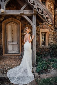 Scottie's unique lace and plunging back will mesmerise you into a beautiful trance. Wedding Dress With Veil, Bridal Wedding Dresses, Bridal Lace, Affordable Wedding Dresses, Bridal Collection, Dress Making, Scottie, Dress Long, Lace Dress