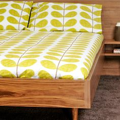 Orla Kiely Scribble Stem Print Pea Bed Linen Range from Heals. Available in Single, Double, Kingsize and super kingsize with oxford pillow cases. I love Orla Kiely and this bed is quite like mine!! I lust!